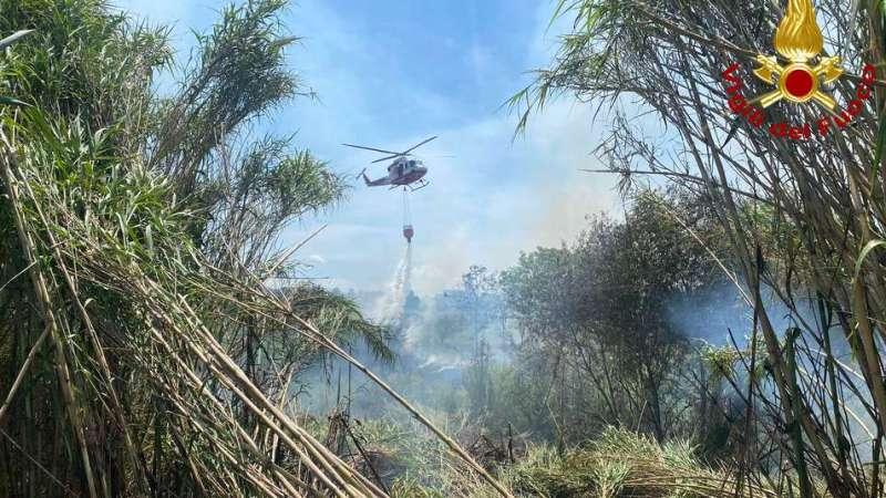 vegetazione-a-fuoco,-pompieri-domano-l'incendio-dopo-sei-ore-/-video
