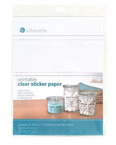 Silhouette printbaar printbare doorzichtig transparant stickervellen printable clear sticker paper adhesive clear foil MEDIA-CLR-ADH-3T 814792012529 Cityplotter Zaandam