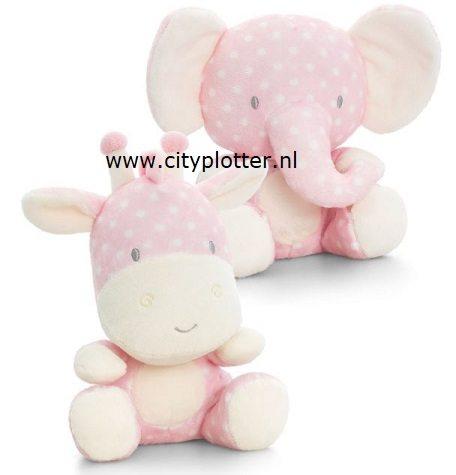 knuffel olifant of giraf roze witte stip cityplotter zaandam