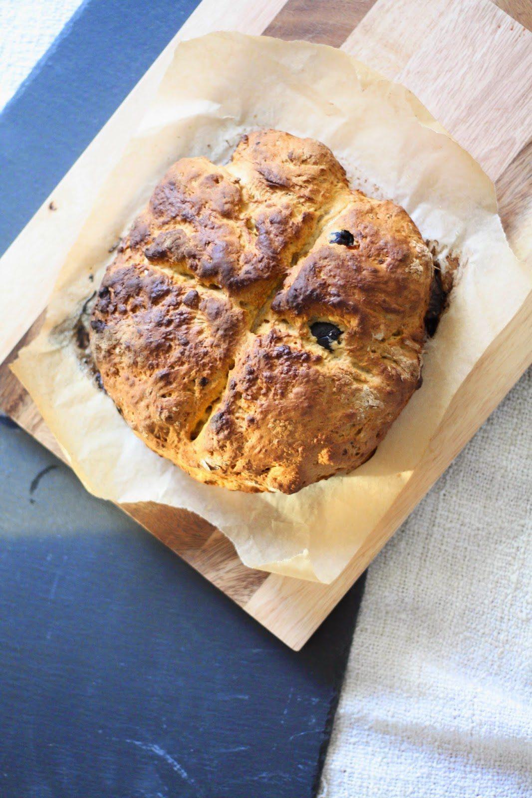 Soda bread with pesto & olives