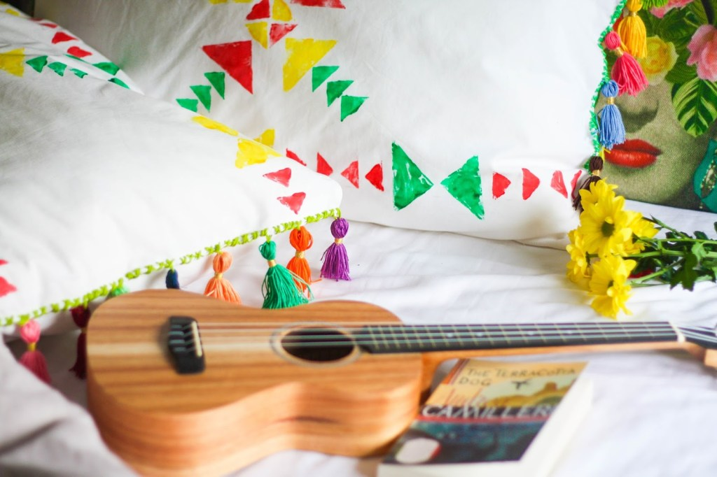 Brighten your day with these DIY stamped tassel pillows