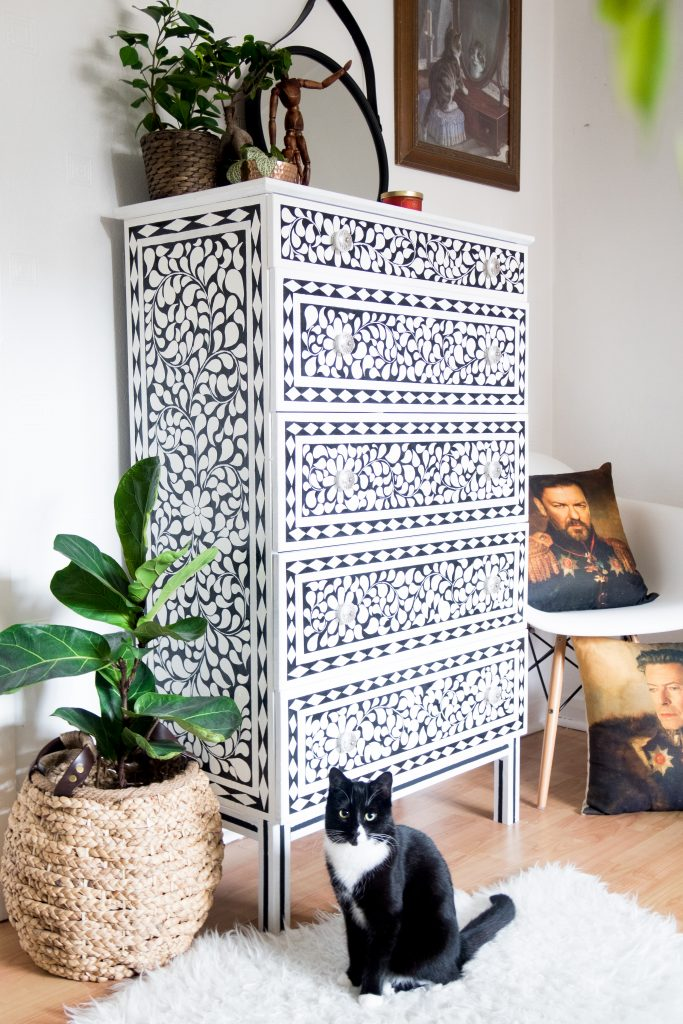DIY faux bone inlay chest of drawers