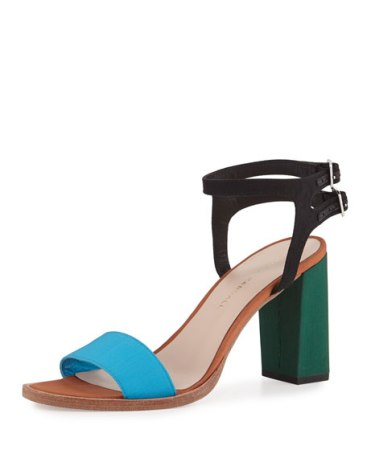 Sylvia Colorblock City Sandal, Turquoise $375.00 www.neimanmarcus.com