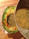 pour the egg mixture into the avocado