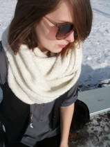 winter white infinity scarf, grey blouse, black vest