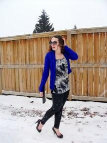 storm print blouse, silver leopard and cobalt blue blazer