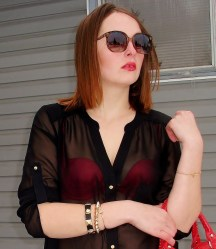 Sunglasses & Blouse by Le Chateau, Bracelets and bag by Aldo