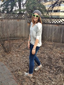casual street style - converse, stripe sweater, skinny jeans, beanie and raybans