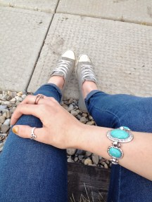 celtic knot ring, infinity knot rings, turquoise bracelet, cuffed jeans and chuck taylors