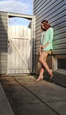 gold sequin shorts, mint blazer
