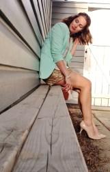 mint blazer, gold sequin shorts, nude heels