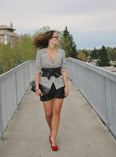 Black and white outfit with red heels