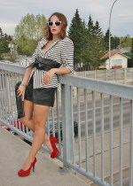 black and white stripes with leather accessories and red heels