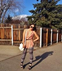 blush silk shirt, printed leggings, wedge sandals