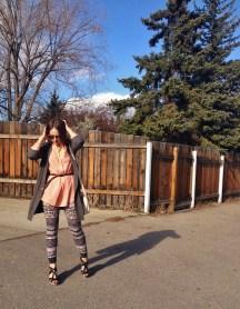 peach and printed leggings