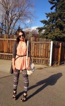 peachy keen - printed leggings, peach silkk blouse