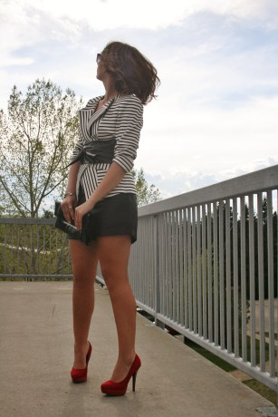 Red platform pumps, black and white outfit