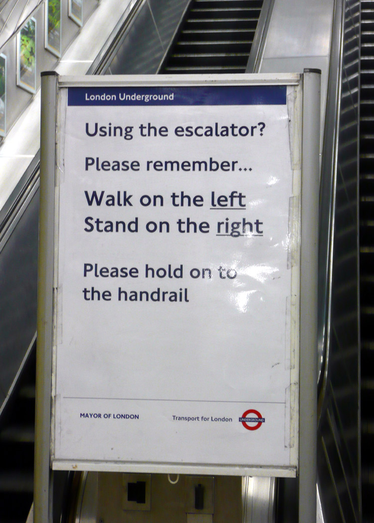 escalator rule london