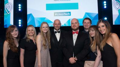 The Stonebow Media team at the Lincolnshire Digital & Tech Awards. Photo: Steve Smailes for Lincolnshire Business