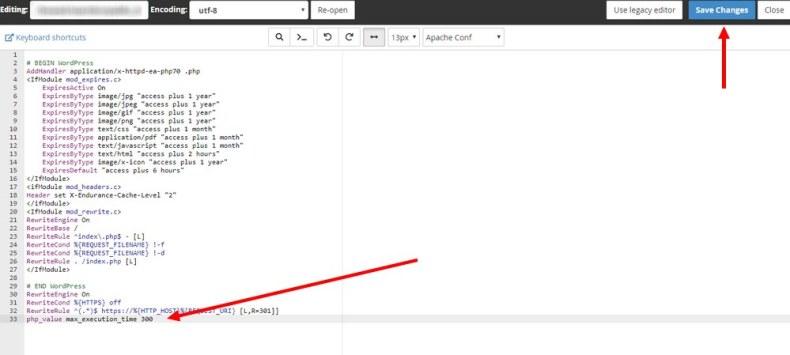Error fatal Tiempo máximo de ejecución sobre edit-edit-htaccess-file-2