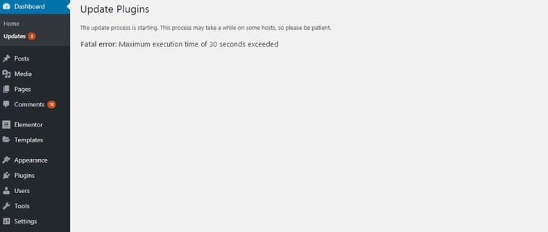 Error fatal Tiempo máximo de ejecución Más que un error de wordpress