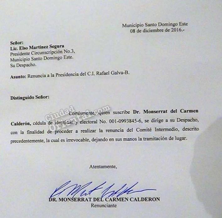 Carta de renuncia de Monserrat Calderón