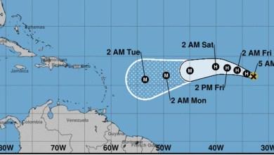 Posición de Irma a las 5.00 am del jueves 31 de Agosto 2017