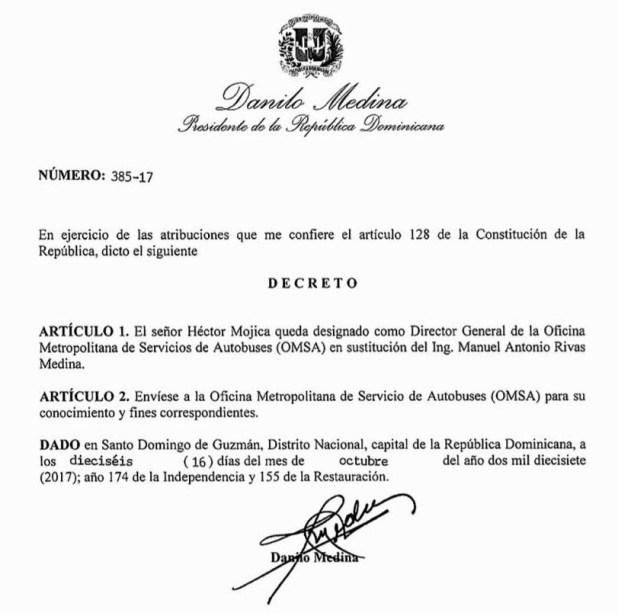 Decreto mdiante el cual el presidente Medina destituye a Manuel Rivas