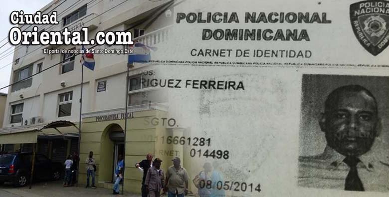 Ilustración con el Palacio de Justicia y el carnet de la Polícia Nacional del condenado