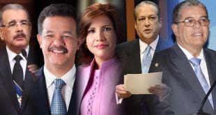 Desde la izquierda, Danilo Medina, Leonel Fernández, Margarita Cedeño, Reynaldo Pared y Carlos Amarante Baret