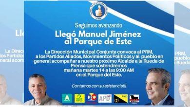 """Photo of El equipo de campaña de Manuel Jiménez convoca """"al pueblo en general"""" a una rueda de prensa en el Parque del Este"""