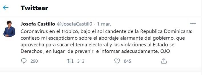 Tuits de la diputada del PRm Josefa Castillo antes de las elecciones de Julio 2020