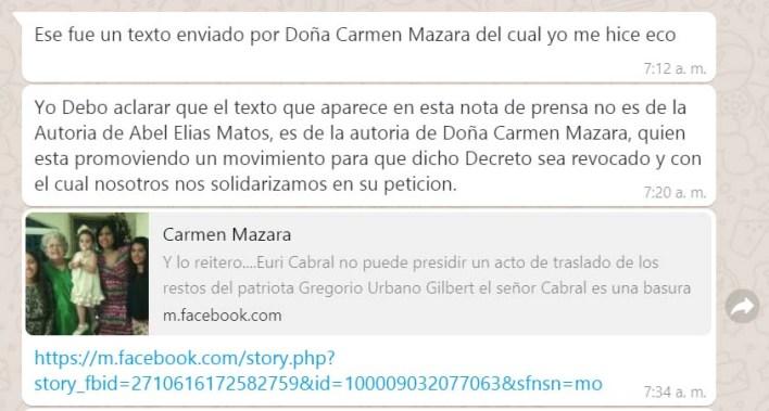 Aclaración del regidor Abel Matos, en la que explica que se solidariza con lo atribuido a Carmen Mazara respecto de Euris Cabral.