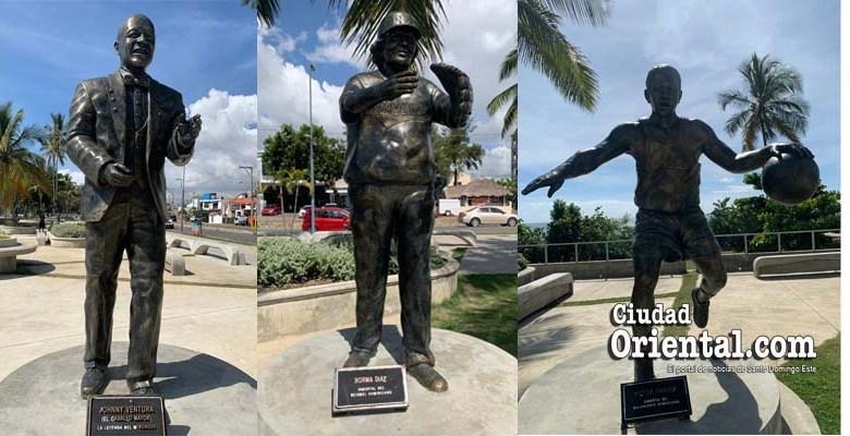 Desde la izquierda, estatuas a Jhonny Ventura, Norma Díaz y Maíta Mercedes