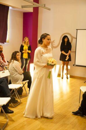 Vestido de novia de su última colección. Foto: cortesía