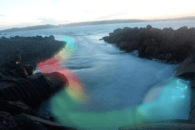This image shows what we hoped to accomplish with our thermal flashlight. This imaged was created with Photoshop. Based on the bathtub photos (see Field Notes 8) and our daytime data collection, we believed we could capture colour over a broader area of the water. However, as Photograph 2 shows, the flashlight realistically shows streaks of light, rather than light diffused evenly over the surface. We believe if we had put some sort of diffuser of the lightbulb itself (and had our tech not failed), we could have achieved this result.