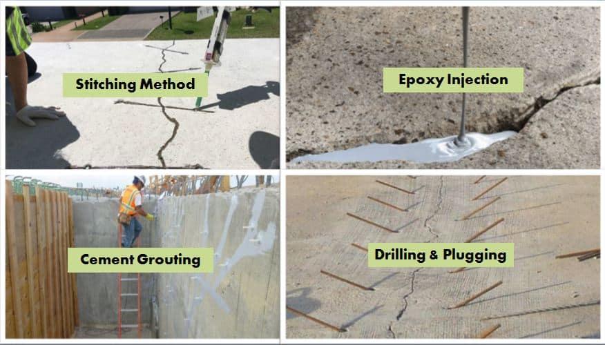 Concrete crack repair method