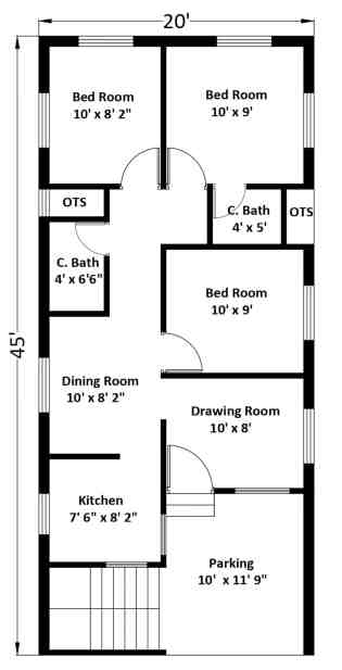 20x45 ft Free Download House Plans