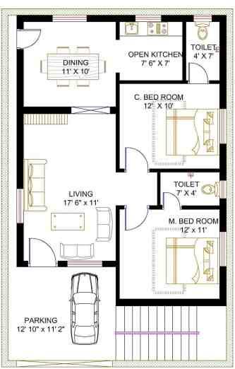 2 BHK house Plan