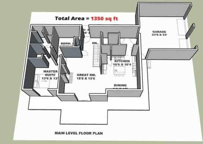 1350 sqft Home Plan