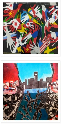 Lincoln H.S. senior David Persaud won the Ann Marley Spirit award with artwork promoting inclusion and respect.  At top, a canvas of hands illustrates that with unity, we are stronger.  At bottom, a mural that David and his peers worked for 8 months to complete.