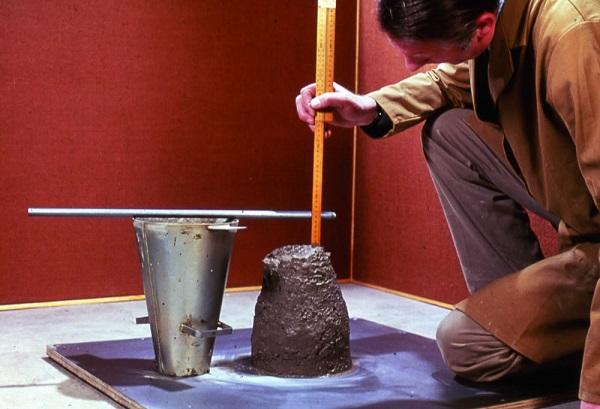 Slump test of concrete to measure workability