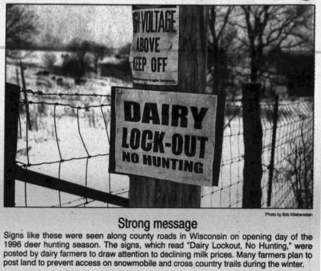 newspaper article and photo: 'dairy lockout'