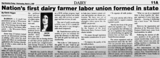 newspaper article: 'nation's first dairy farmer labor union'