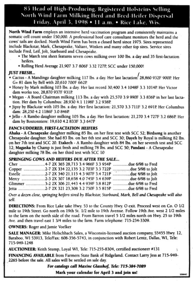 farm dispersal sale newspaper ad