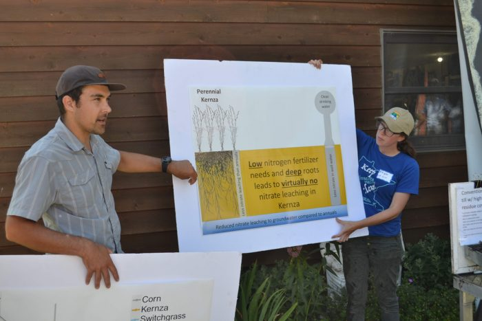 A presentation on Kernza's soil and nutrient benefits. (Photo credit: Connie Carlson)