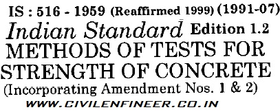 is 516 1959 indian standard methods of test for strength of concrete.