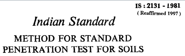 IS 2131 1981 INDIAN STANDARD METHOD FOR STANDARD PENETRATION TEST FOR SOILS