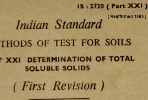 IS - 2720 (PART 21)-1977 INDIAN STANDARD METHODS OF TEST FOR SOILS DETERMINATION OF TOTAL SOLUBLE SOLIDS .(FIRST REVISION)