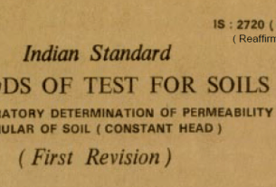 IS-2720-(PART 36)-1987 INDIAN STANDARD METHODS OF TEST FOR SOILS LABORATORY DETERMINATION OF PERMEABILITY OF GRANULAR OF SOIL(CONSTANT HEAD).